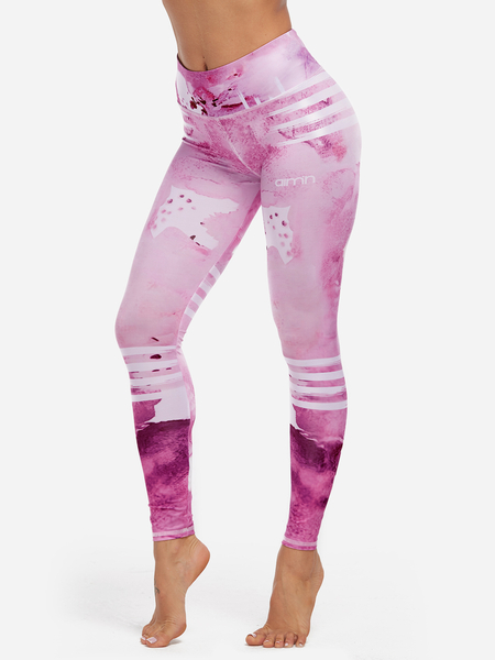 Yoins Pink Printed High-waisted Active Bottoms Yoga Pants