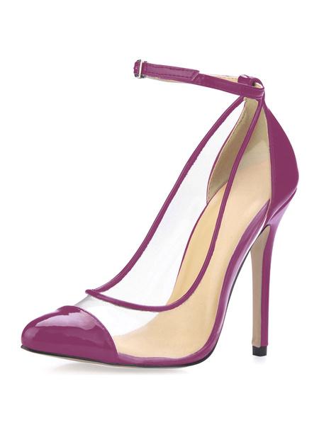 Milanoo Zapatos de punta triangularde color rosado