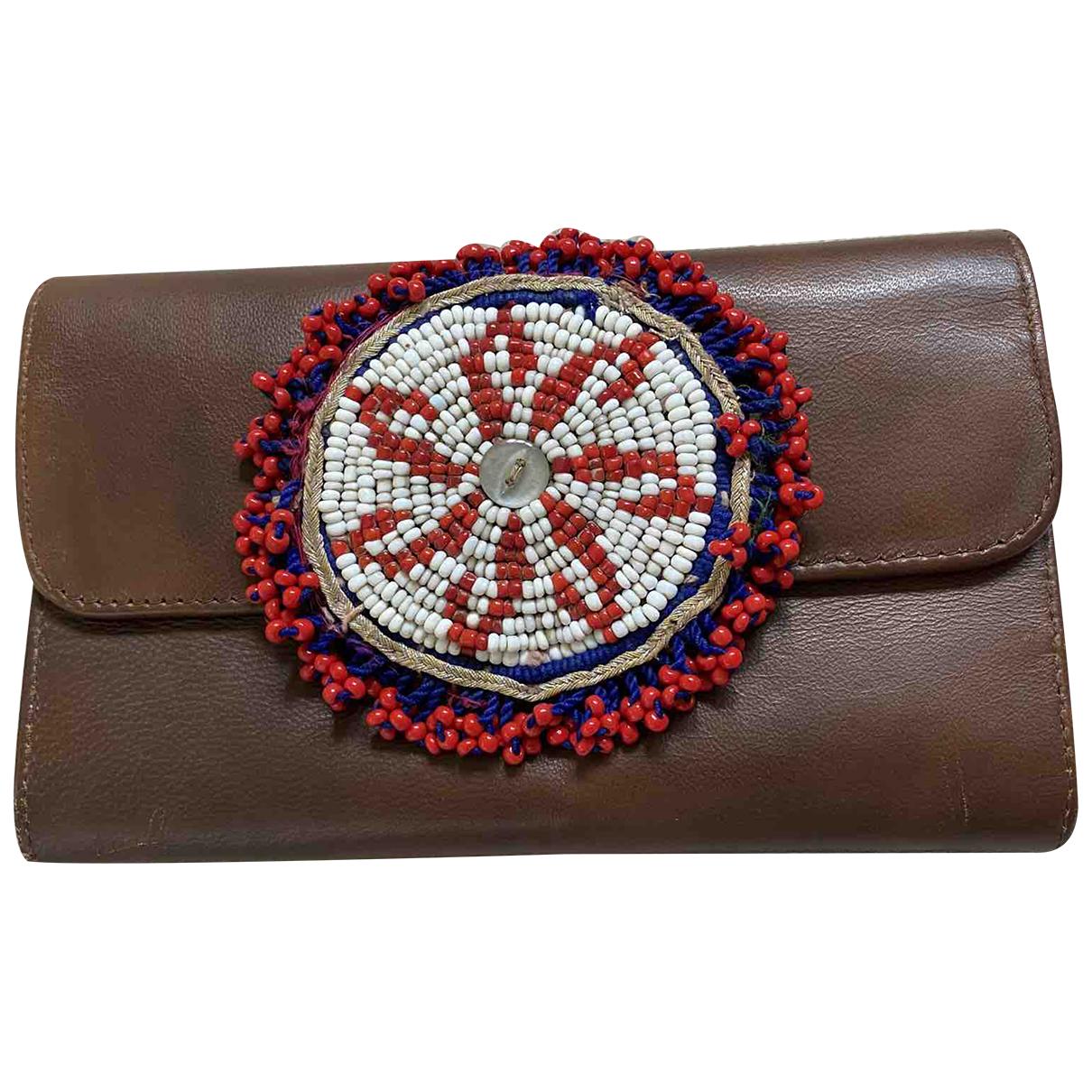 - Portefeuille   pour femme en cuir - marron