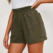 Shorts mit Papiertasche Taille, Taschen Flicken und Manschetten