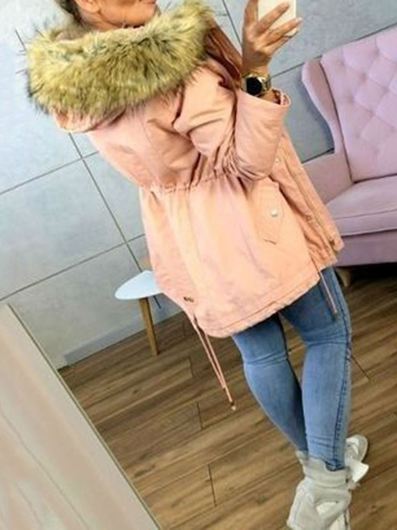 Ericdress Patchwork Zipper Mid-Length Cotton Padded Womens Jacket