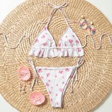 Dreieckiger Bikini Badeanzug mit Blumen Muster, Ruesche und seitlichem Band