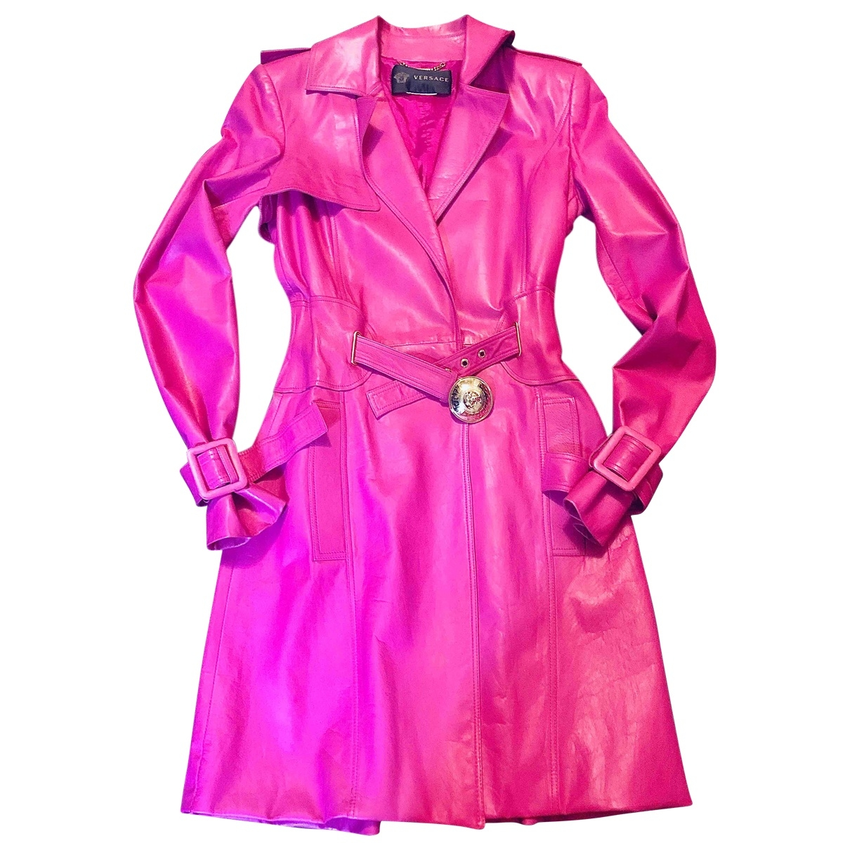 Versace \N Pink Leather Trench coat for Women 40 IT