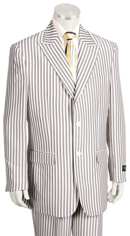 Mens Victorian Stripe Single Breasted Peak Lapel Coffee Zoot Suit