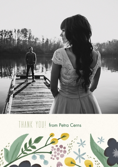 Wedding Thank You 5x7 Cards, Standard Cardstock 85lb, Card & Stationery -Floral Shower Thank You Set