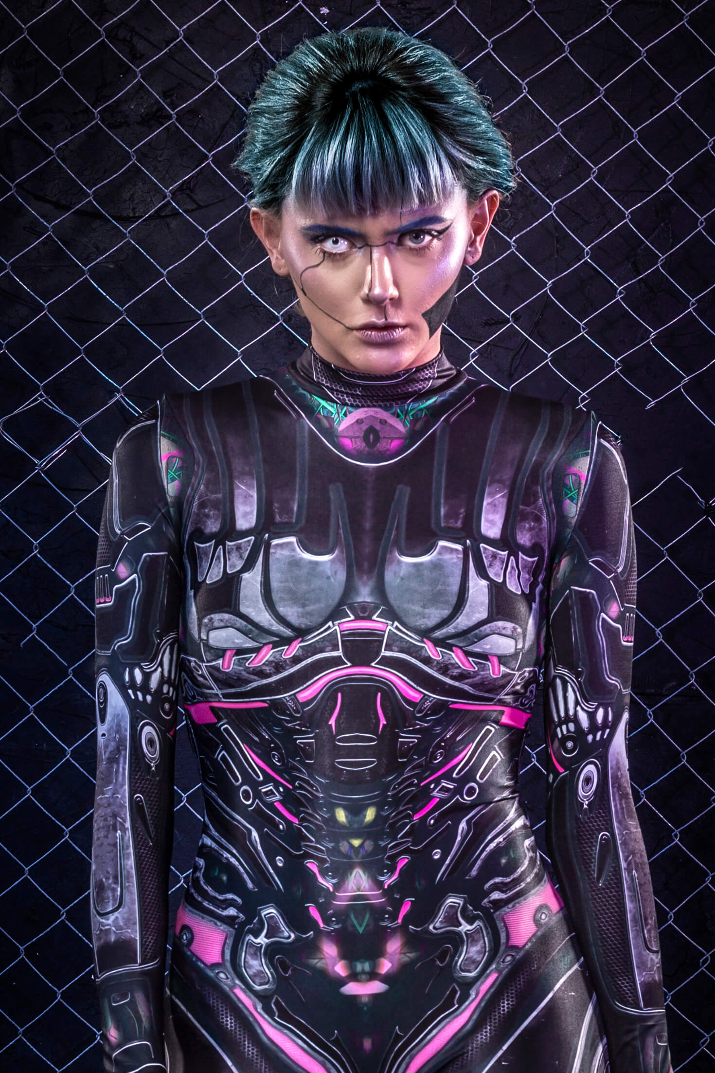 Women's Halloween Costume - Sexy Adult Cyberpunk Robot Bodysuit - Halloween Bodysuit Women