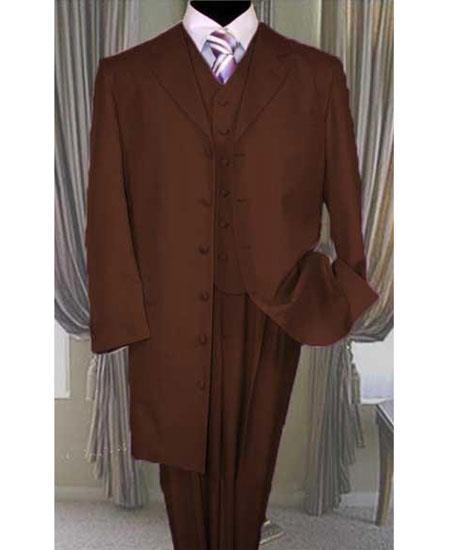 Men's Button Closure Dark Brown Vested Long Zoot Suit