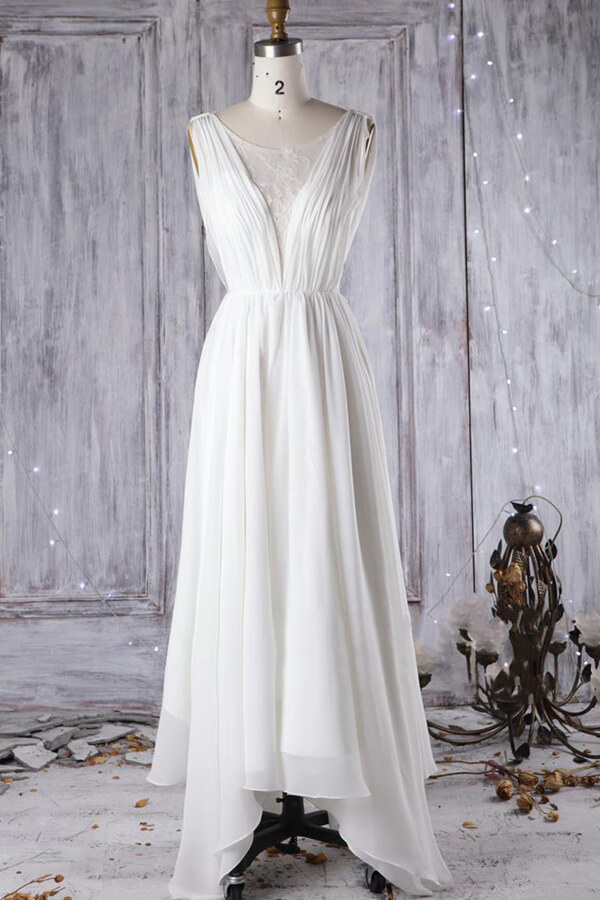 BMbridal Affordable Asymmetric Chiffon Wedding Dress Lace Appliques Ruffles Bridal Gowns On Sale