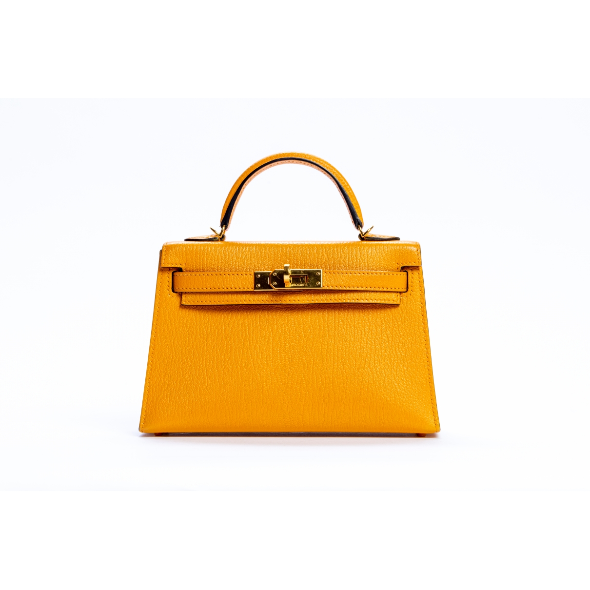 Hermes - Sac a main Kelly Mini pour femme en cuir - jaune