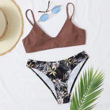 Bikini Badeanzug mit Blatt & Blumen Muster