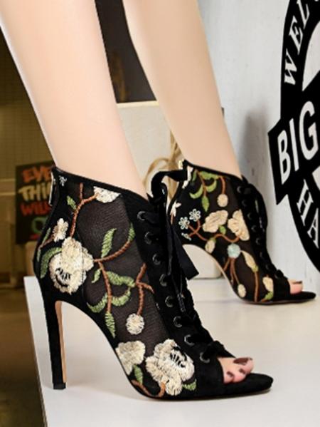 Yoins Floral Embellished Peep Toe Stiletto Heels