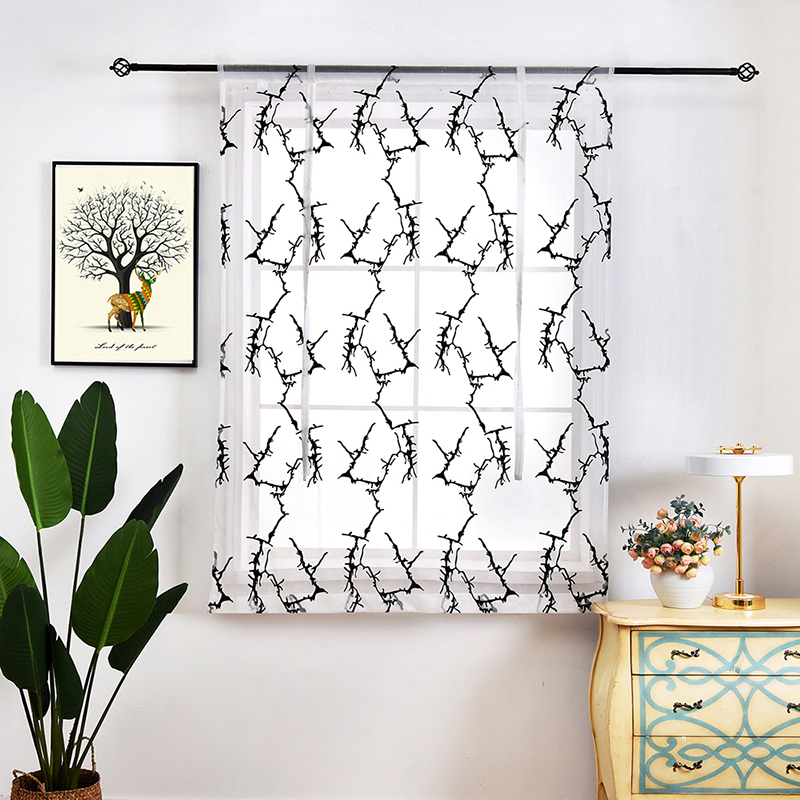White and Black Branch Creative Design Curtain Shade for Kitchen