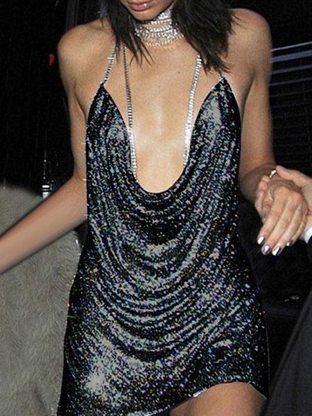 Milanoo Gold Club Dress Halter Plunging Neck Sleeveless Sequin Women's Bodycon Dresses