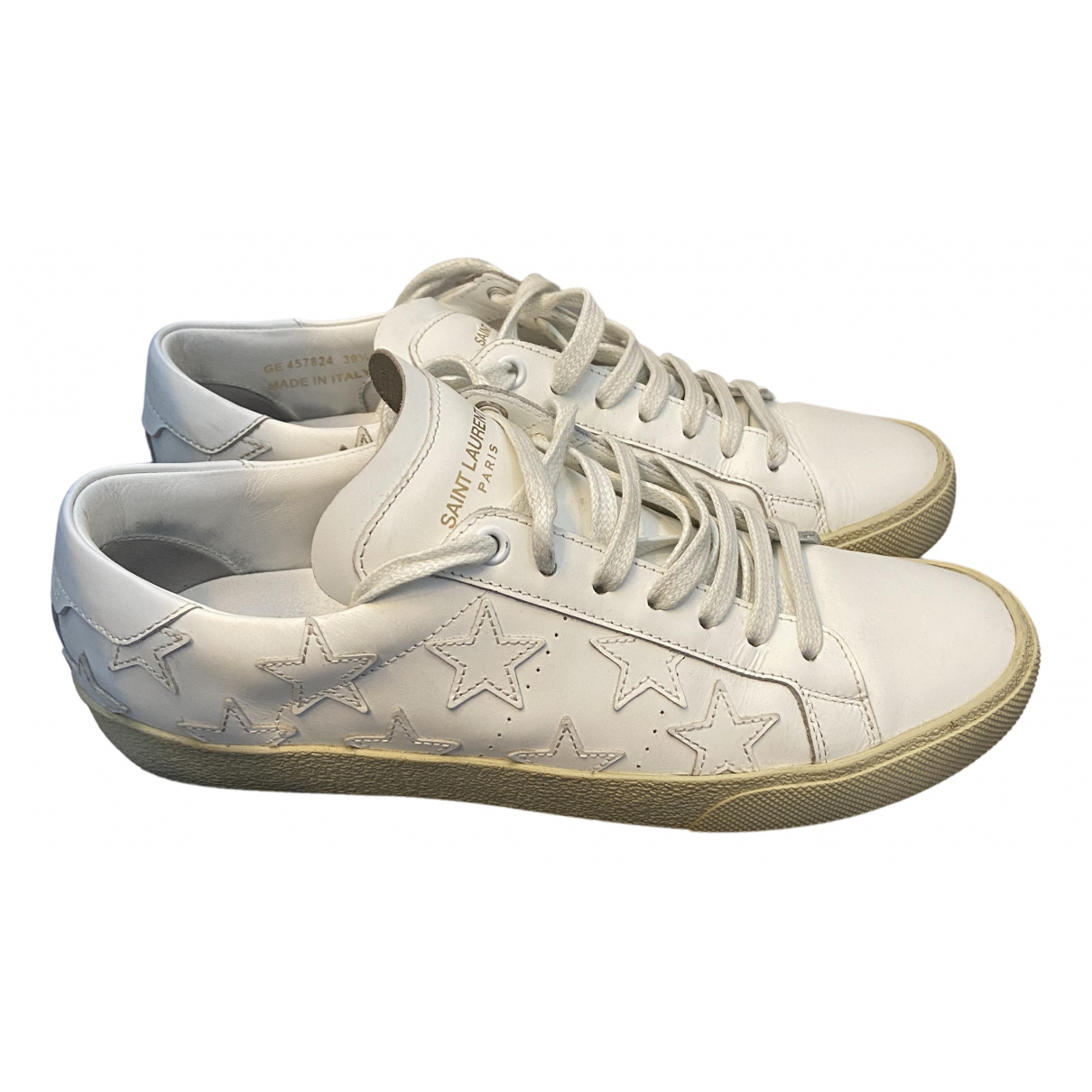 Saint Laurent N White Leather Trainers for Women 39.5 EU