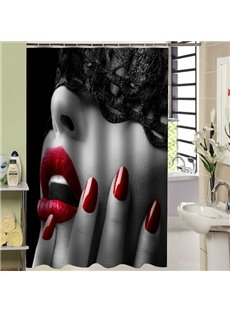 3D Sexy Girl with Red Lips Printed Polyester Bathroom Shower Curtain