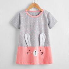 Toddler Girls 3D Rabbit Ear Design Polka Dot Tee Dress