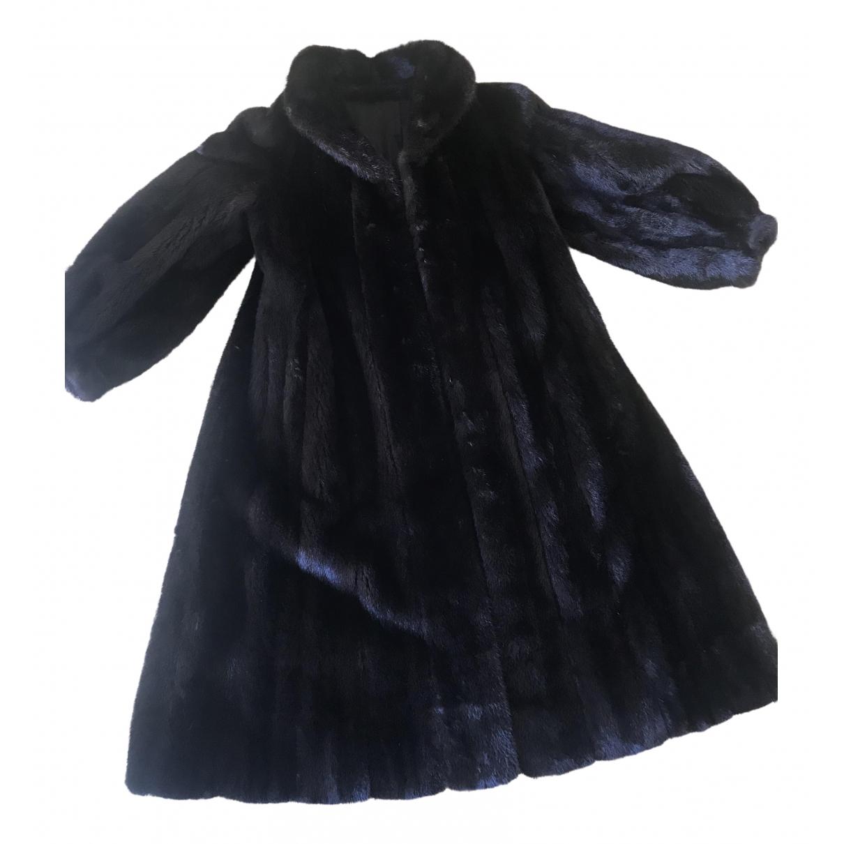 - Manteau Manche ballon pour femme en vison - noir
