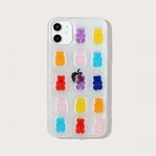 Funda de iphone transparente con oso 3D