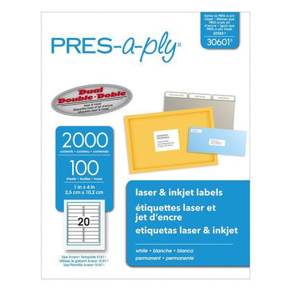 Pr e-a-ply adh esif permanent laser / jet d'encre etiquettes - 4 x 1