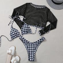 3 Packe Bikini Badeanzug mit Karo Muster, Neckholder und Top mit Netzstoff