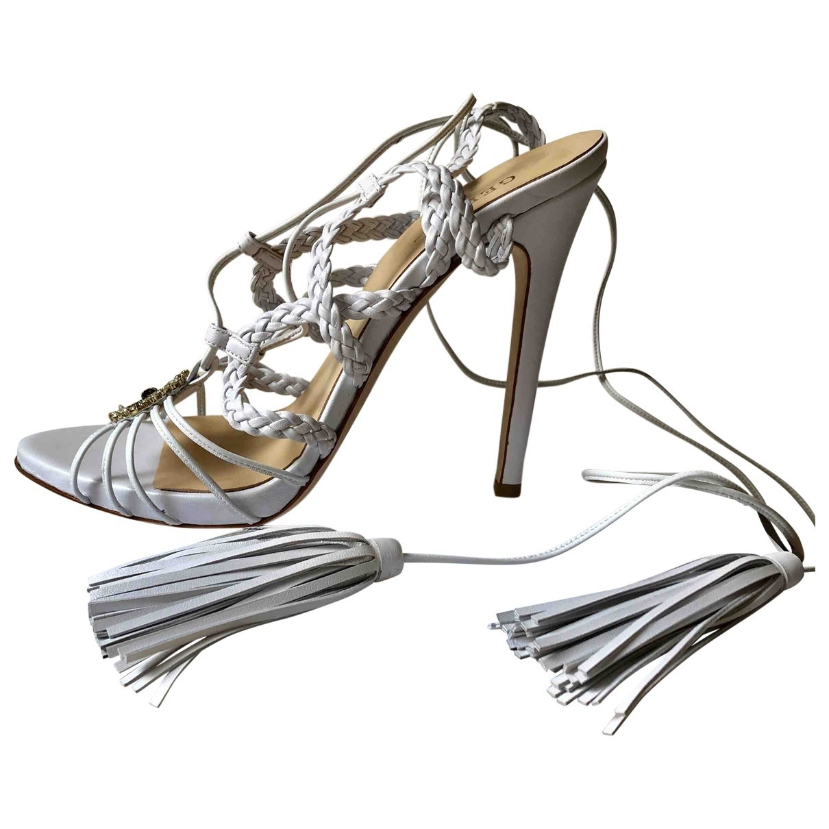 Gedebe \N White Leather Sandals for Women 40 EU
