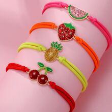 4 piezas pulsera de niñitas con diseño de fruta