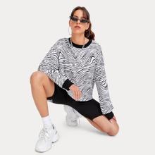 Zebra Striped Oversized Sweatshirt