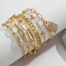 6 Stuecke Armband mit Sperren Dekor