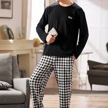 Men Patched Tee With Gingham Pants PJ Set