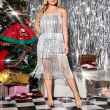 Plus Contrast Sequin Tiered Fringe Cami Bodycon Dress