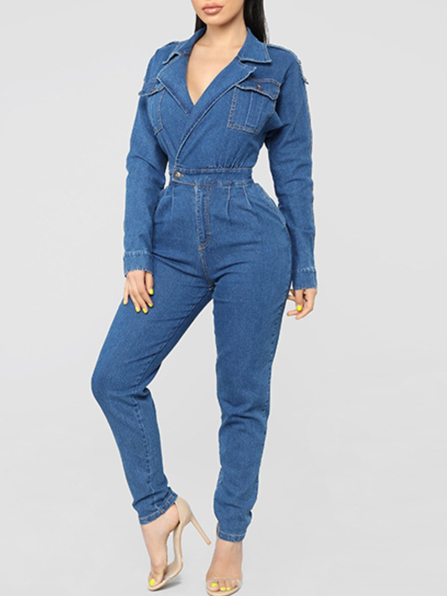 LW lovely Stylish Turndown Collar Pocket Patched Blue Denim One-piece Jumpsuit