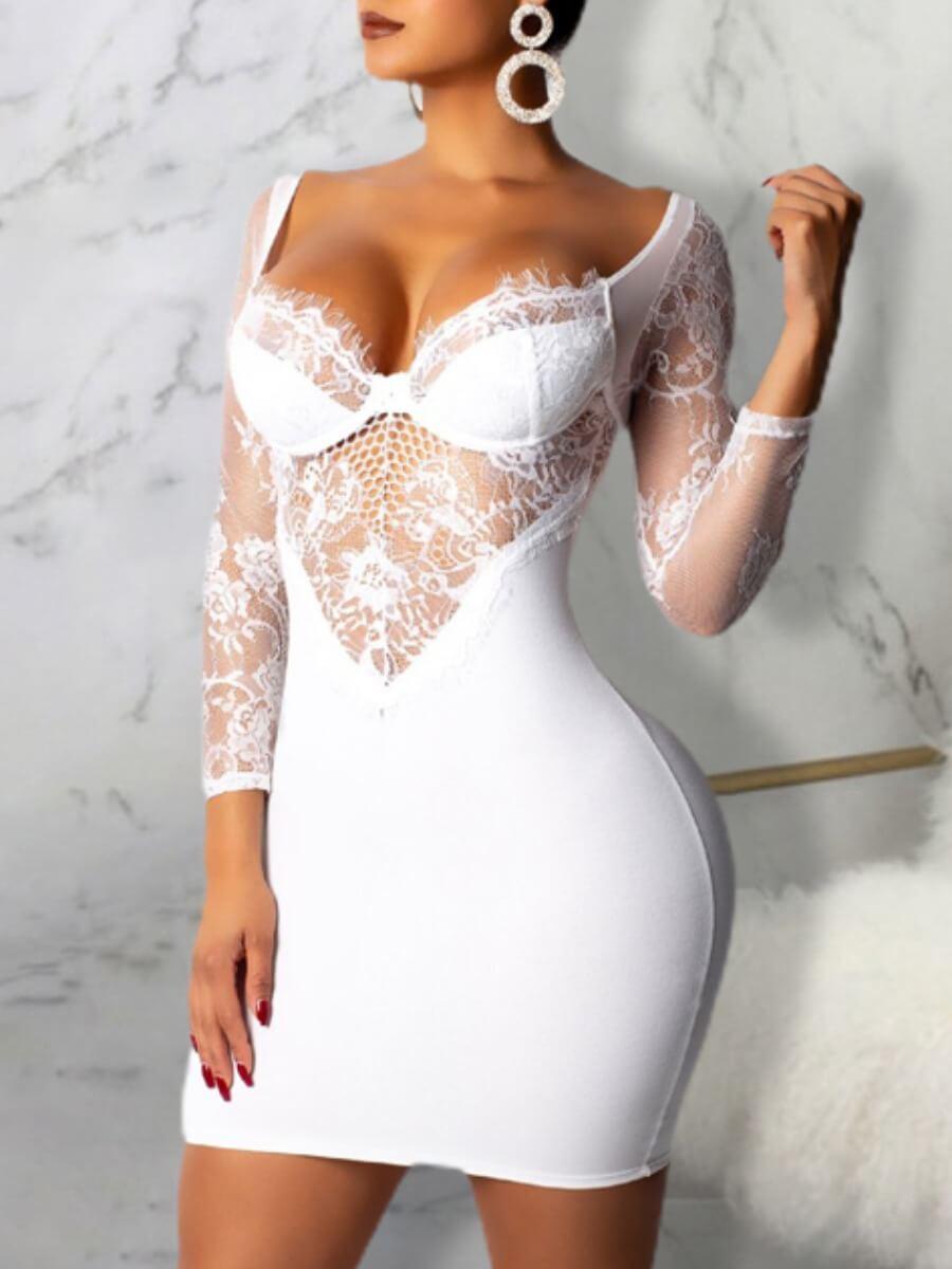 LW Lovely Sexy V Neck Lace Patchwork Backless White Mini Dress