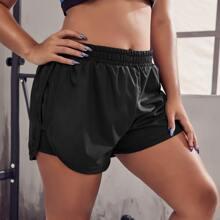2 In 1 Track Shorts mit elastischer Taille