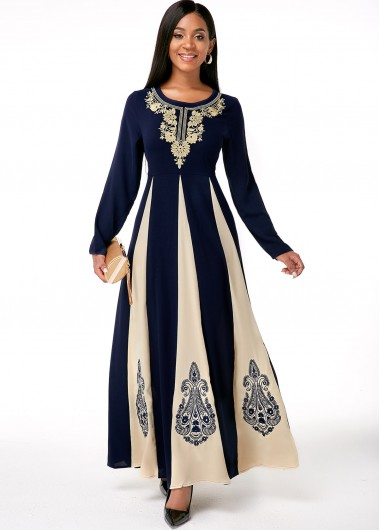 Cocktail Party Dress Embroidered Round Neck Long Sleeve Contrast Dress - 4XL