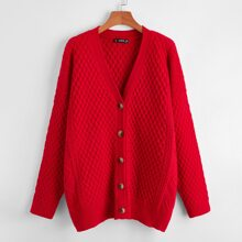 Plus Drop Shoulder Button Front Cardigan