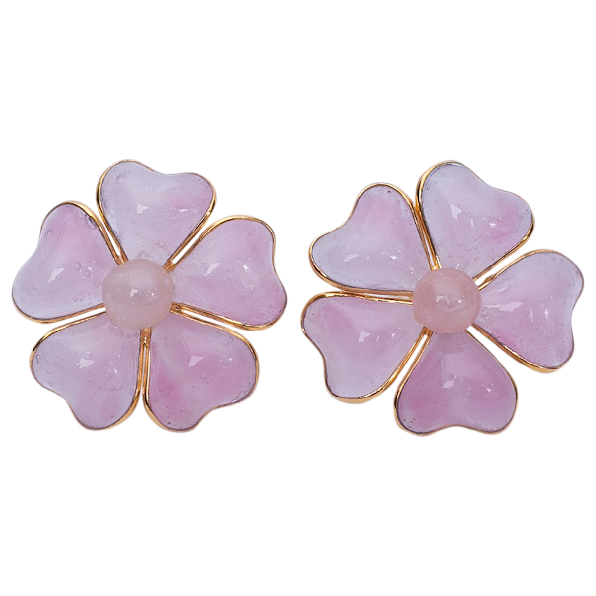 Non Signé / Unsigned Motifs Floraux Pink Glass Earrings for Women N