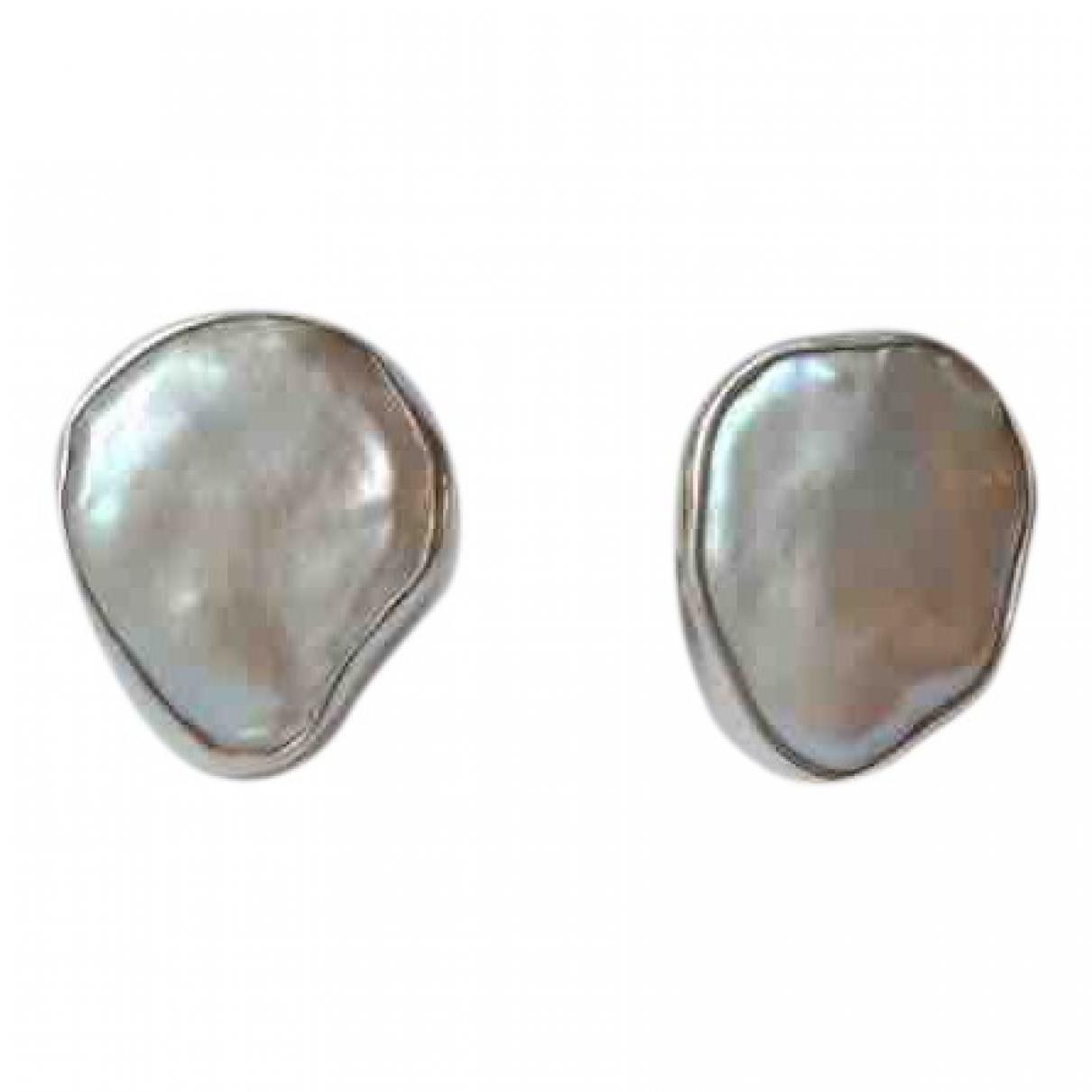 - Boucles doreilles   pour femme en argent - blanc