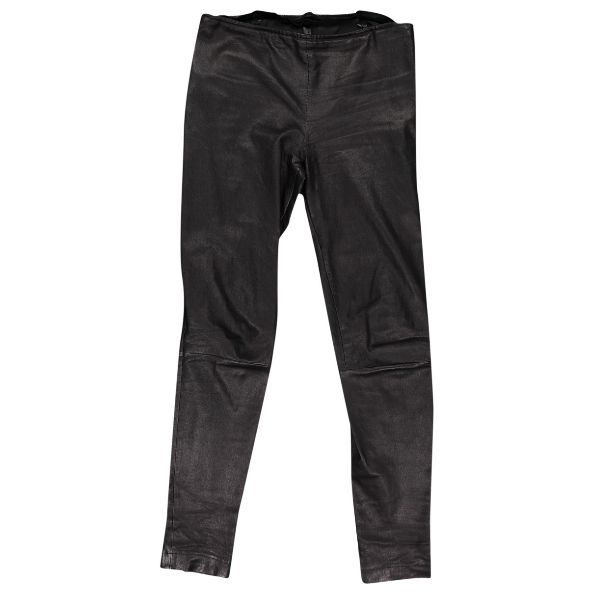 The Row \N Black Leather Trousers for Women 38 FR