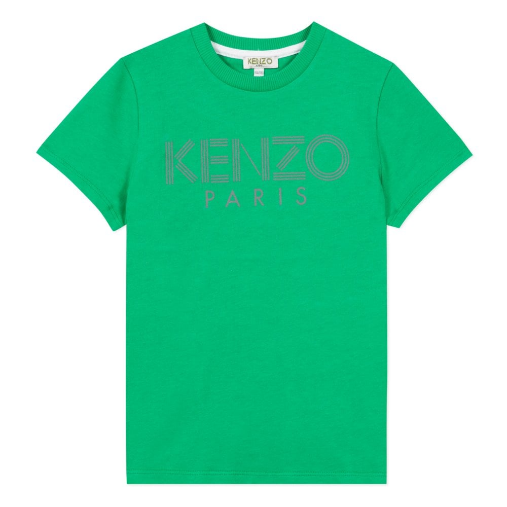 Kenzo Kids Paris Logo T-Shirt Green Colour: GREEN, Size: 10 YEARS