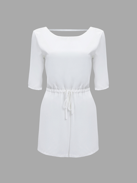 Yoins White Open Back Playsuit with 1/2 Length Sleeves