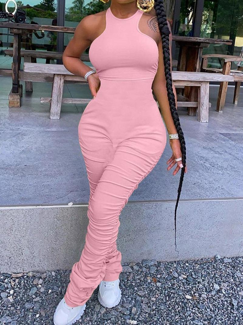 Ericdress Simple Plain Full Length Slim Jumpsuit