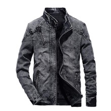 Men Ripped Zipper Detail Washed Denim Jacket