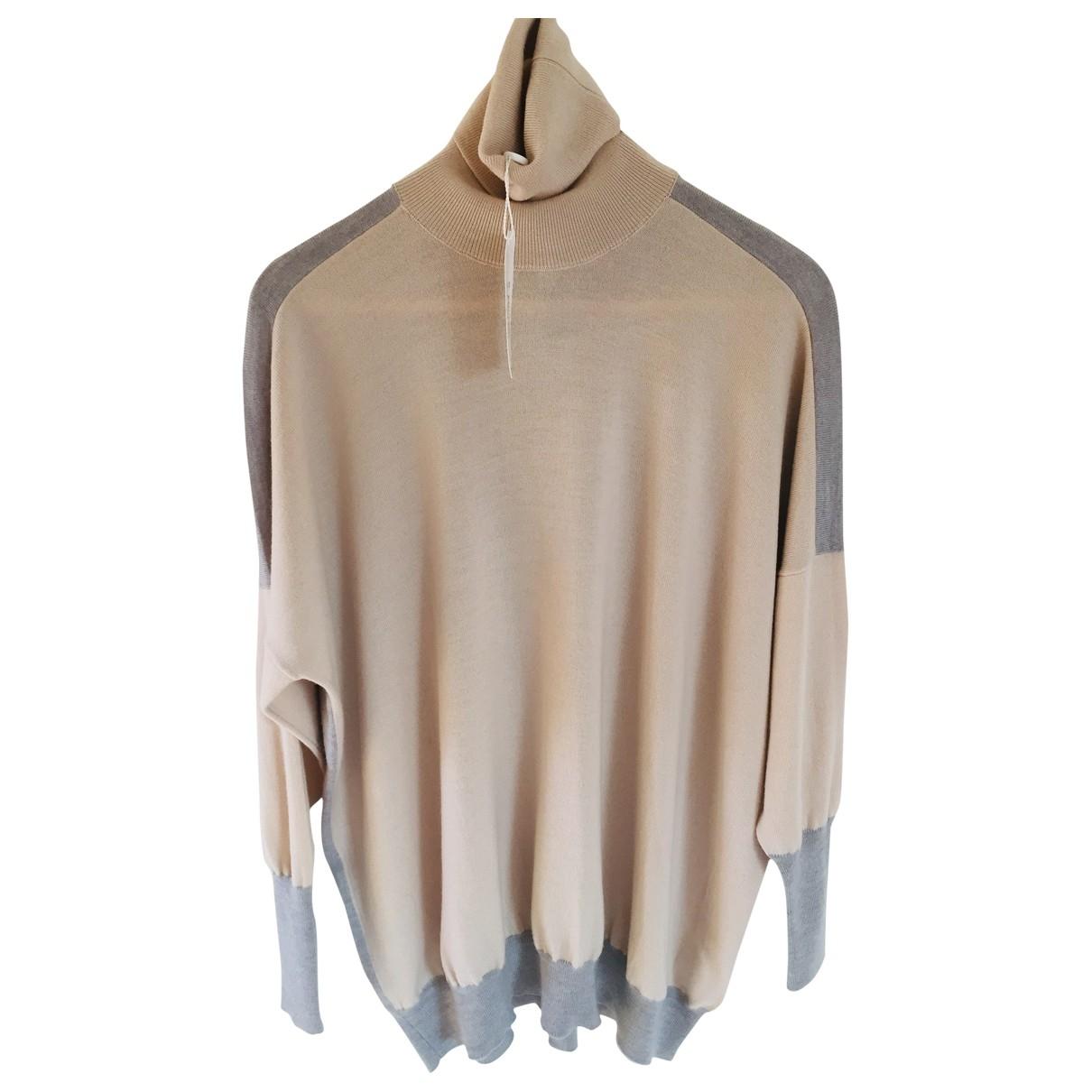 Mm6 - Pull   pour femme en laine - beige