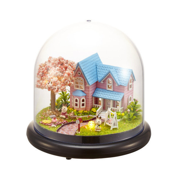 Miniature Cherry Dollhouse DIY Kit With Cover And LED