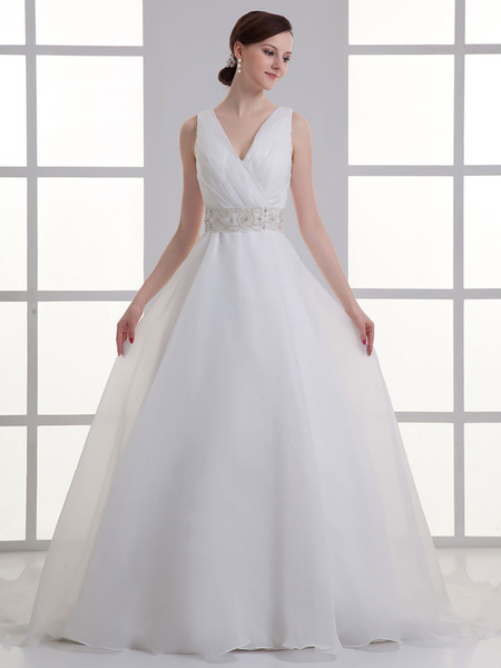 Milanoo Ivory Ball Gown V-Neck Beading Bridal Wedding Gown