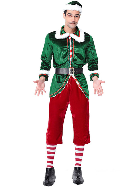 Milanoo Disfraz Halloween Disfraz de Navidad para hombre Papa Noel Manga larga Espesar Fiesta Mostrar Traje de elfo Carnaval Halloween