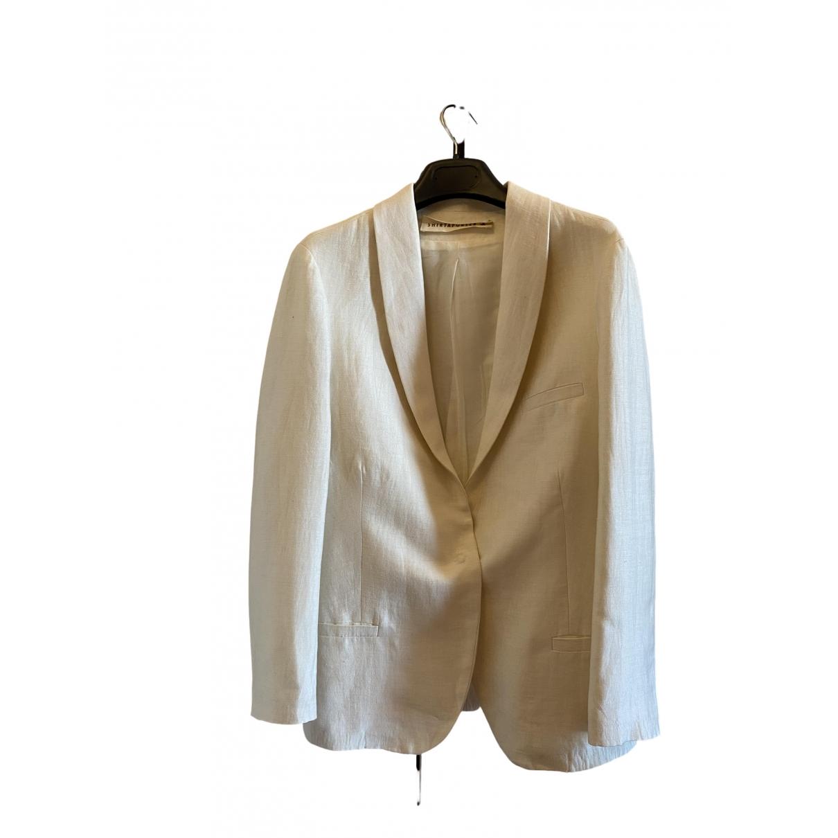 Shirtaporter - Veste   pour femme en lin - blanc