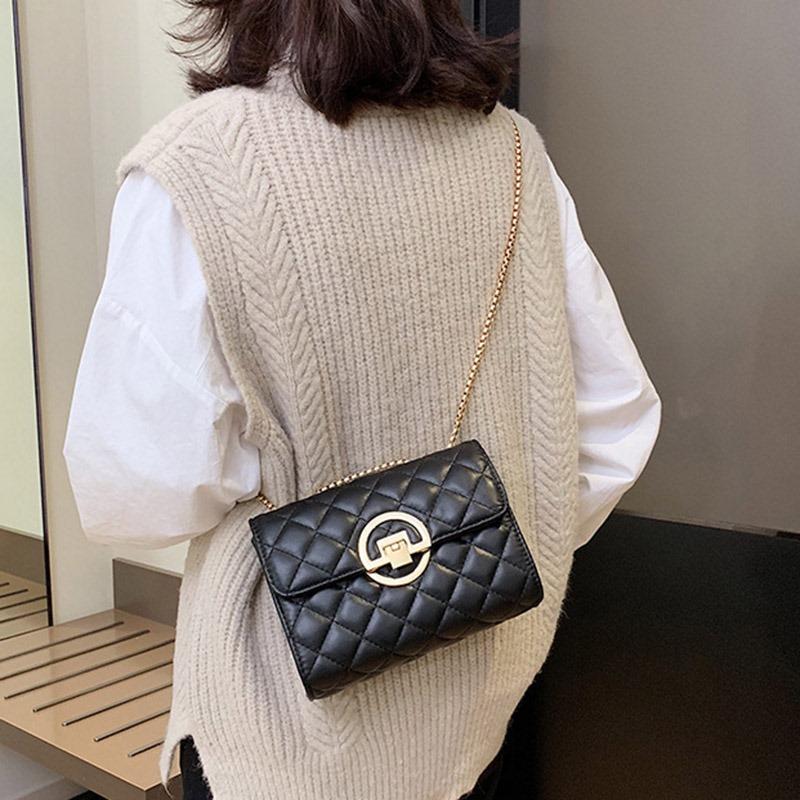 Ericdress PU Plaid Thread Rectangle Casual Crossbody Bags
