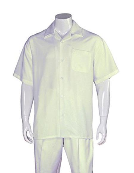 Men's Casual Cream Sleeve Plain 2 Pieces Walking Suits Pleated Pants