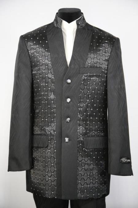 Mens Mandarin Collar Diamond Pattern Black Zoot Suit